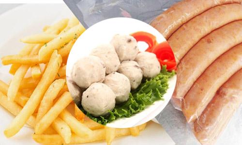 Xúc xích - cá viên tôm viên - khoai tây