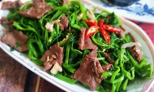 Rau muống xào thịt bò, món ngon đơn giản dễ làm