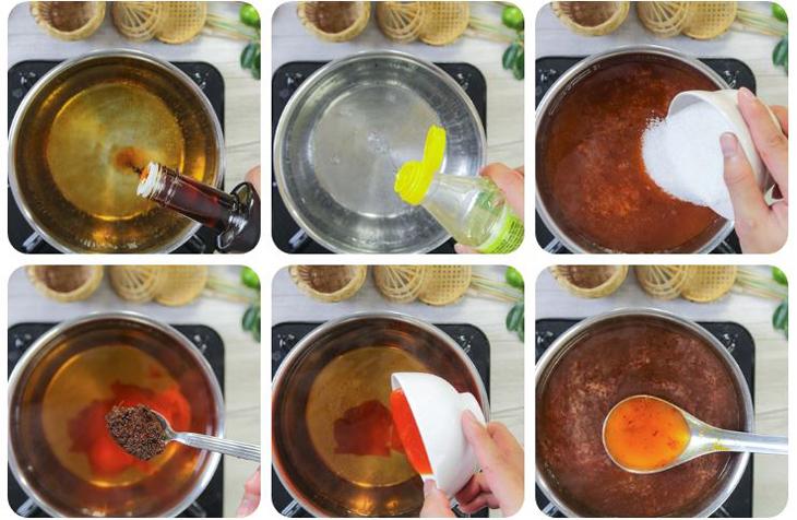 Cho giấm gạo, nước mắm, tương ớt, ớt sa tế, đường vào khuấy đều và đun sôi